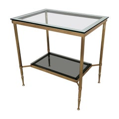 1980s Italian Modern Regency Neoclassical Brass and Mirror Glass Two-Tier Table