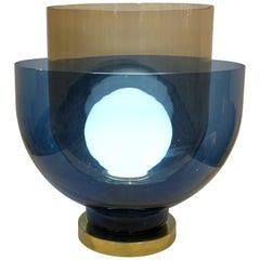 1980s Italian Monumental Blue Smoked Murano Glass Modern Round Lamp/Floor Lamp