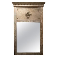 1980s Italian Painted Trumeau Wooden Mirror