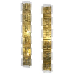 1980s Italian Pair of Modern Aqua Tint Glass Gold Brass Tall Sconces/Flushmounts