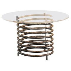 1980's Italian Round Table Brut Steel Spiral Shape Base Clear Lucite Top