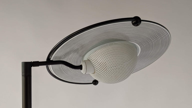 1980s Italian Saturn Shaped Glass Shade Tall Halogen Floor Lamp For Sale At 1stdibs