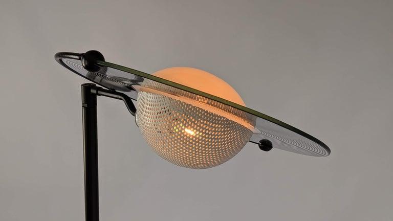 1980s Italian Saturn Shaped Glass Shade Tall Halogen Floor