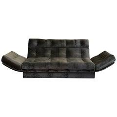 1980er Italienisches Sofa aus Geschützmetall Grauer Jacquard Samt