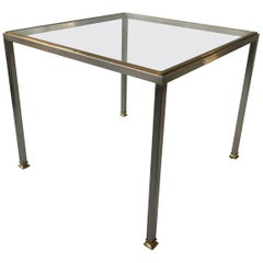 1980s Italian Steel and Brass Side Table