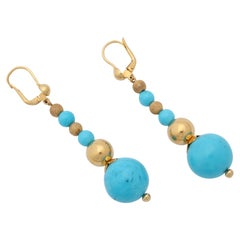 1980s Italian Turquoise Ball with Sparkly and High Polish Ball Earrings