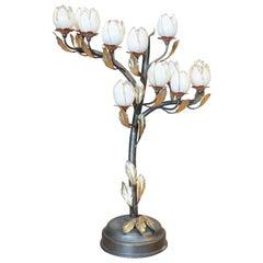 1980s Italian Venetian Murano Glass Flower Shaped Table Lamp