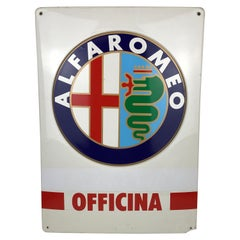 1980s Italian Vintage Screen Printed Plastic Alfaromeo Officina Advertising Sign