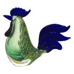 1980s Italian Vintage Silver Navy Blue Green Murano Art Glass Hen Bird Sculpture