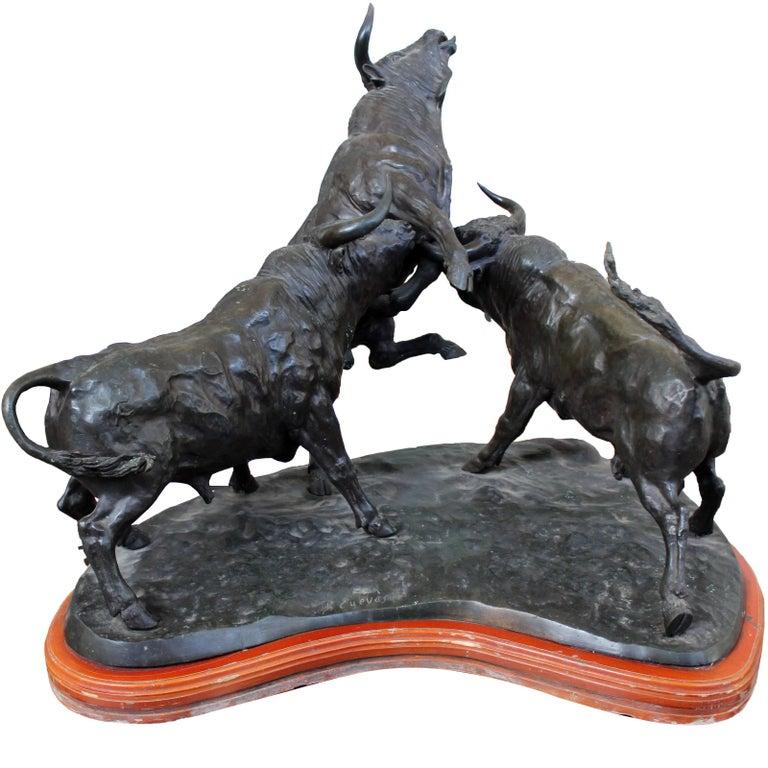 1980s J. Cuevas Three Fighting Bulls Bronze Sculpture