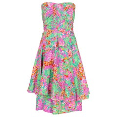 1980s J. Tiktiner French Silk Floral Strapless Dress