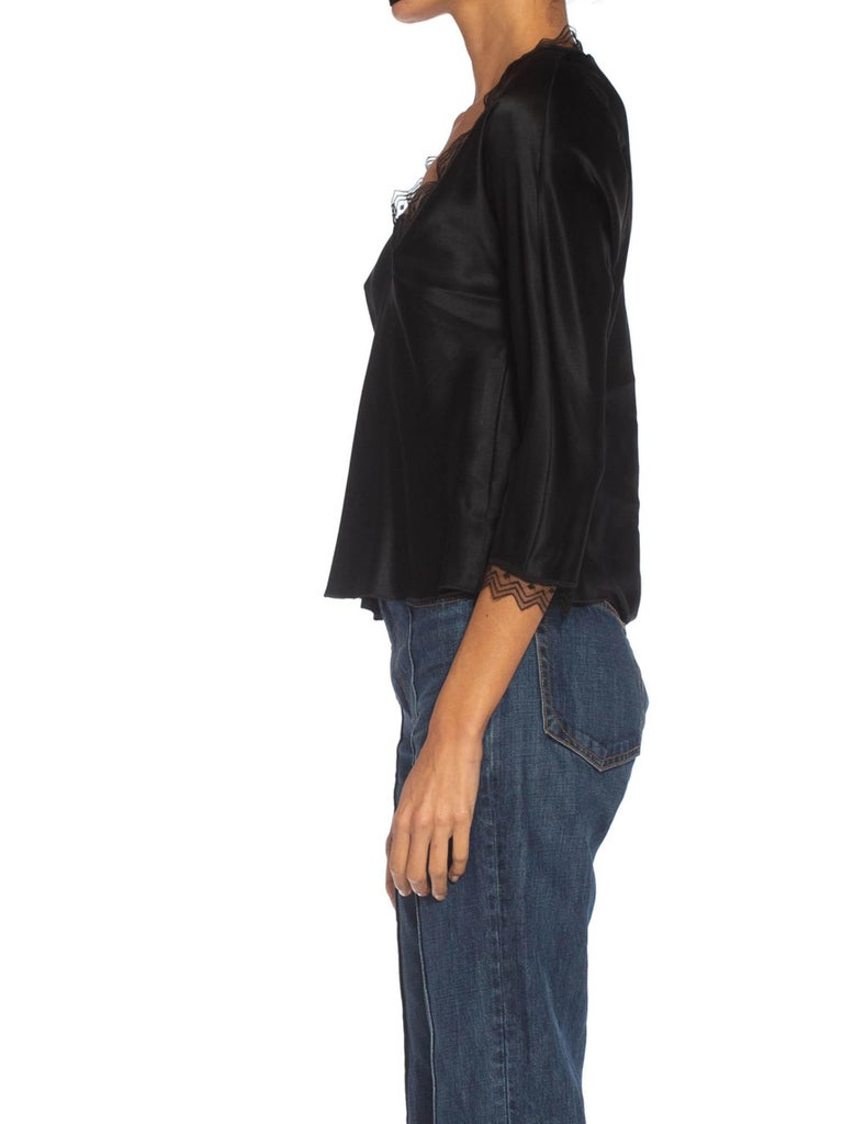 1980S JACKIE ROGERS Black Silk Charmeuse Lace Trimmed Blouse In Excellent Condition For Sale In New York, NY