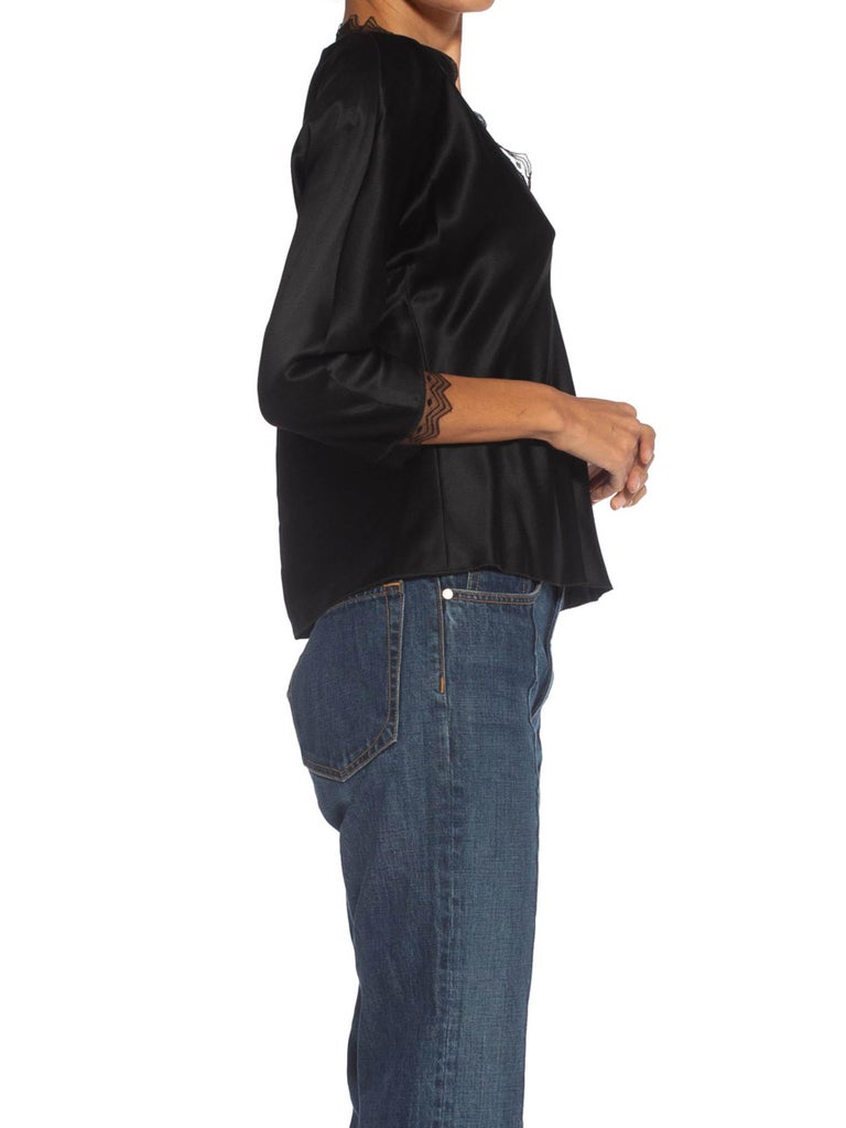 Women's 1980S JACKIE ROGERS Black Silk Charmeuse Lace Trimmed Blouse For Sale