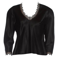 1980S JACKIE ROGERS Black Silk Charmeuse Lace Trimmed Blouse