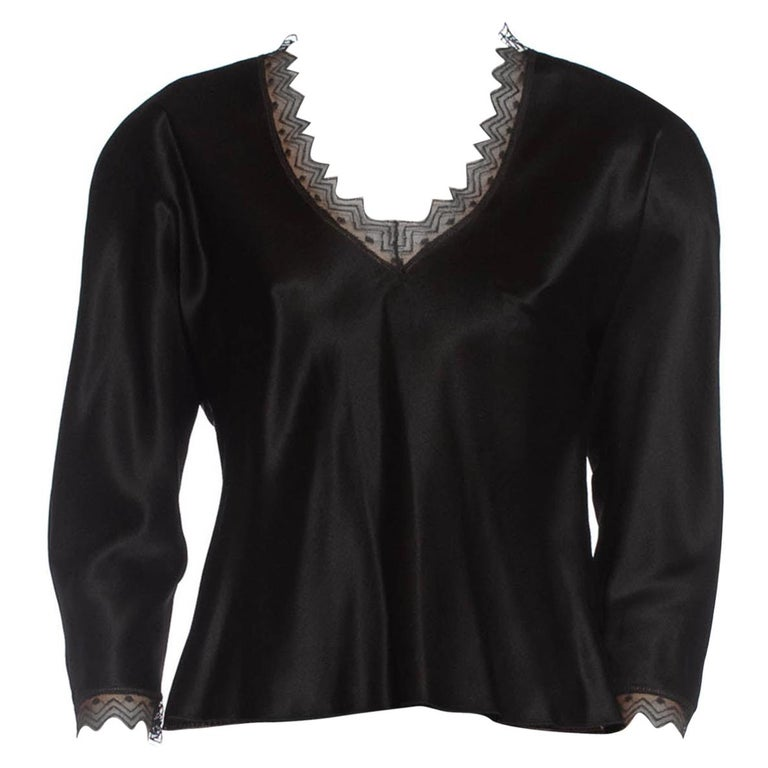 1980S JACKIE ROGERS Black Silk Charmeuse Lace Trimmed Blouse For Sale