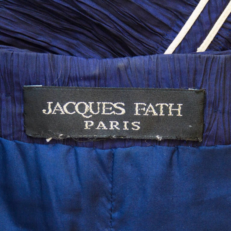 Jacques Fath Navy Blue Micro Pleated Cocktail Dress, 1980s   For Sale 2