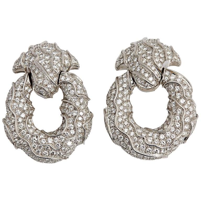 1980s Jahan Diamond Gold Ear Pendants For Sale