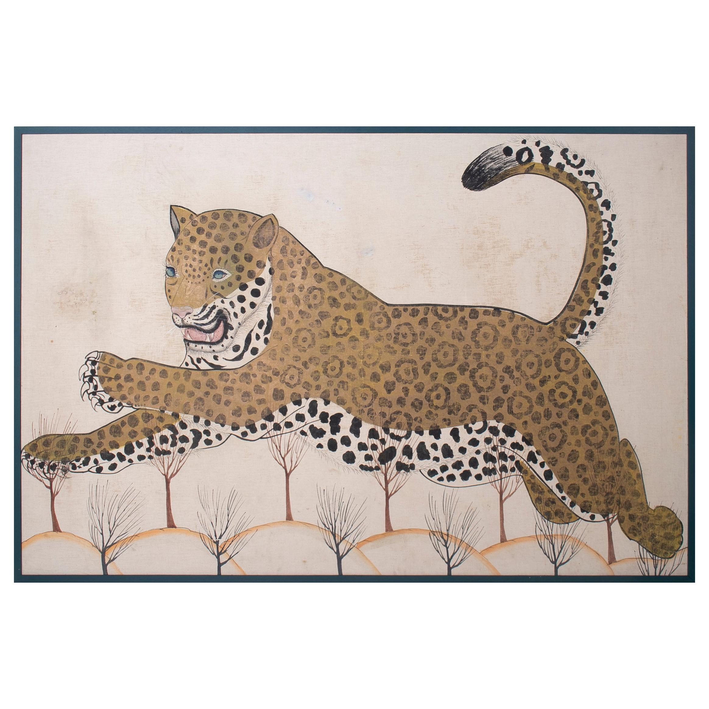 1980s Jaime Parlade Designer Framed Hand Drawn Cheetah on Canvas