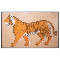 1970s Jaime Parlade Designer Framed Hand Drawn Tiger on Canvas