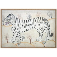1980s Jaime Parlade Designer Framed Hand Drawn White Tiger Canvas