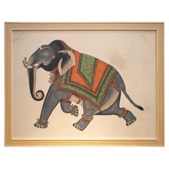 """1980s Jaime Parlade Designer Hand Painted """"Running Elephant"""" Oil on Canvas"""