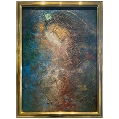 1980s Jamali Painting 'Mystical Expressionism' Style in a Gold Open Frame