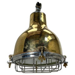 1980's Japanese Industrial Brass, Aluminium & Glass Dome Pendant Lamp with Cage