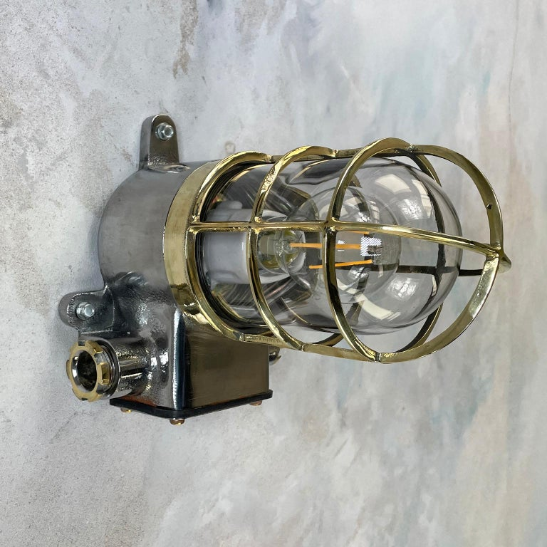 1980s Japanese Kokosha Industrial Cast Iron Sconce Brass Cage and Glass Shade For Sale 6