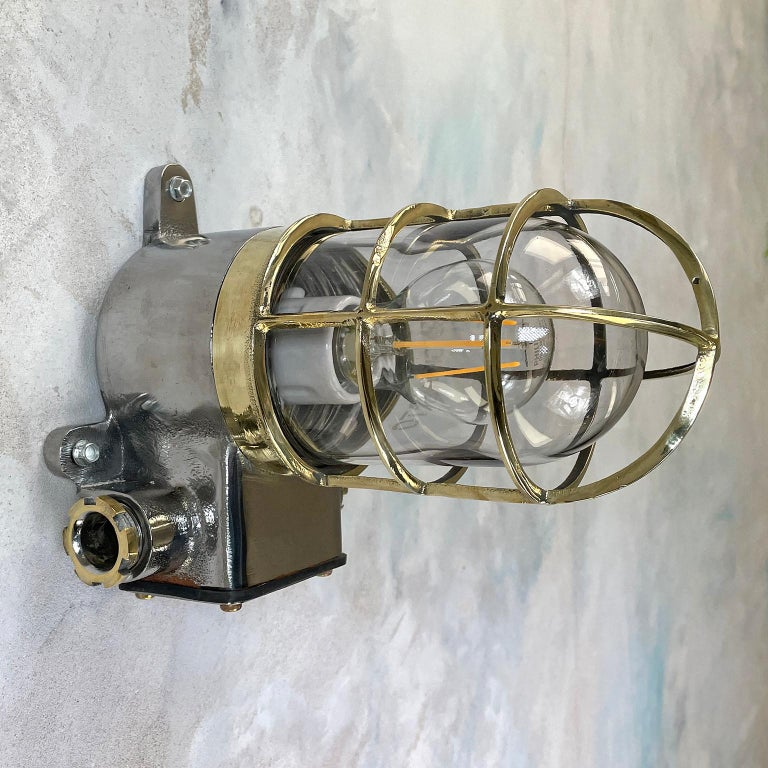 1980s Japanese Kokosha Industrial Cast Iron Sconce Brass Cage and Glass Shade For Sale 7