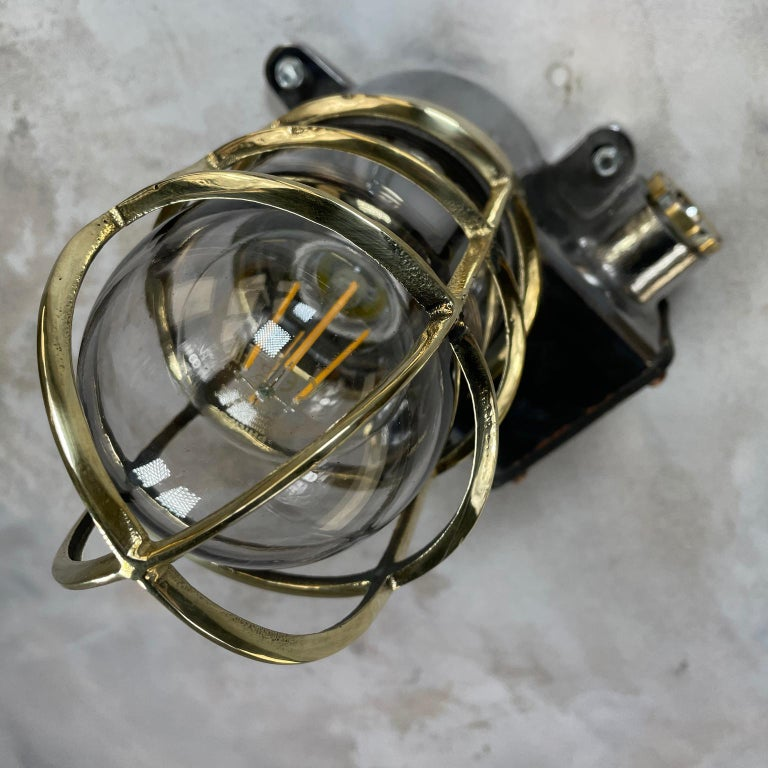 1980s Japanese Kokosha Industrial Cast Iron Sconce Brass Cage and Glass Shade For Sale 12