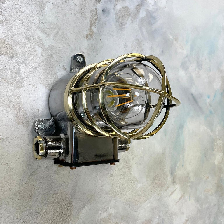 1980s Japanese Kokosha Industrial Cast Iron Sconce Brass Cage and Glass Shade In Good Condition For Sale In Leicester, Leicestershire