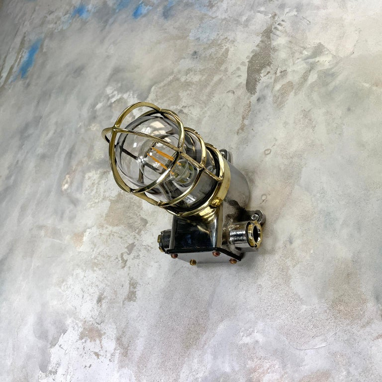 1980s Japanese Kokosha Industrial Cast Iron Sconce Brass Cage and Glass Shade For Sale 2
