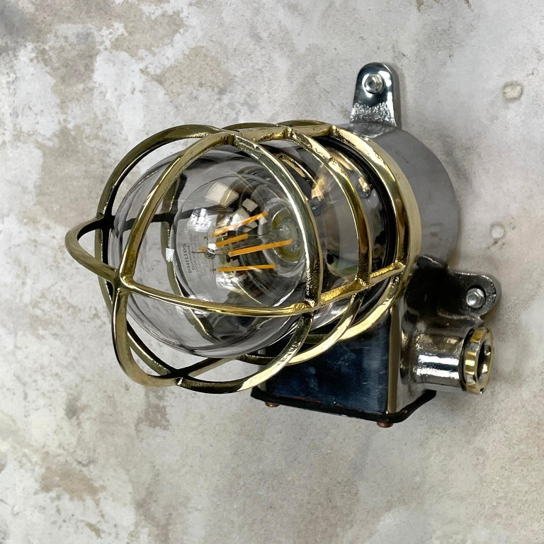 1980s Japanese Kokosha Industrial Cast Iron Sconce Brass Cage and Glass Shade For Sale 5