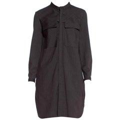 1980'S Wool Japanese Modernist Pinstripe Tunic Dress