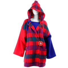 1980s Jean Charles de Castelbajac Red & Blue Plaid Vintage Blanket Coat W/ Hood