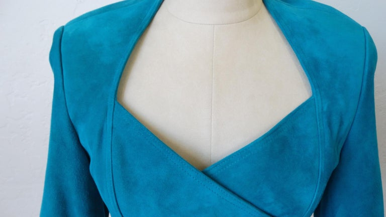 Jean Claude Jitrois 1980s Embellished Teal Leather Blazer For Sale 6
