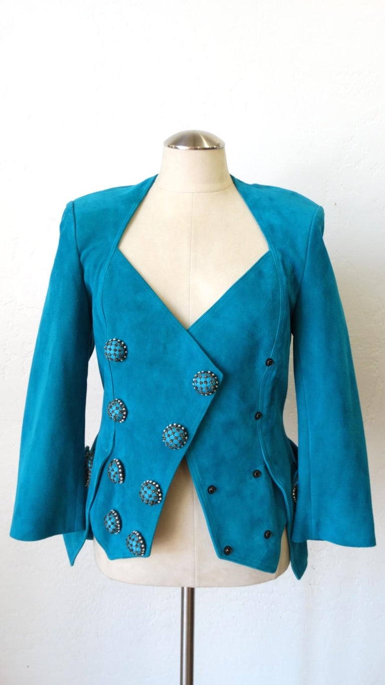 Jean Claude Jitrois 1980s Embellished Teal Leather Blazer For Sale 7