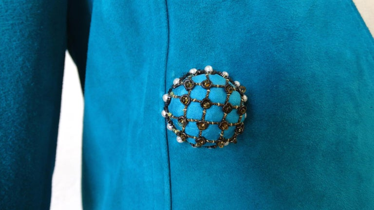 Jean Claude Jitrois 1980s Embellished Teal Leather Blazer For Sale 8