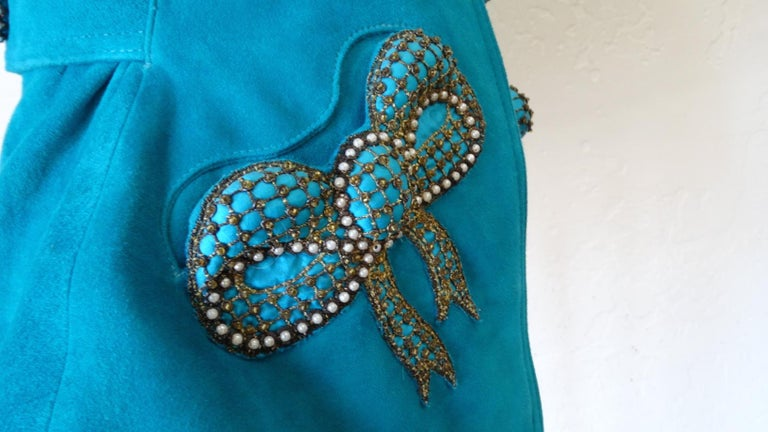 Jean Claude Jitrois 1980s Embellished Teal Leather Blazer For Sale 10
