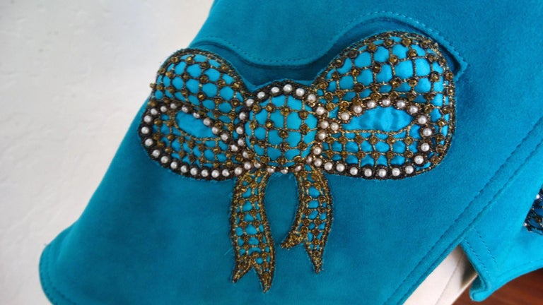 Blue Jean Claude Jitrois 1980s Embellished Teal Leather Blazer For Sale
