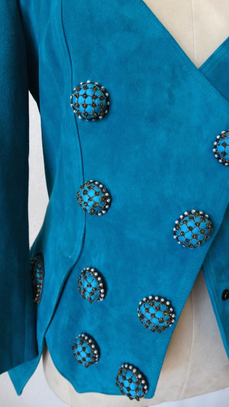 Jean Claude Jitrois 1980s Embellished Teal Leather Blazer In Good Condition For Sale In Scottsdale, AZ