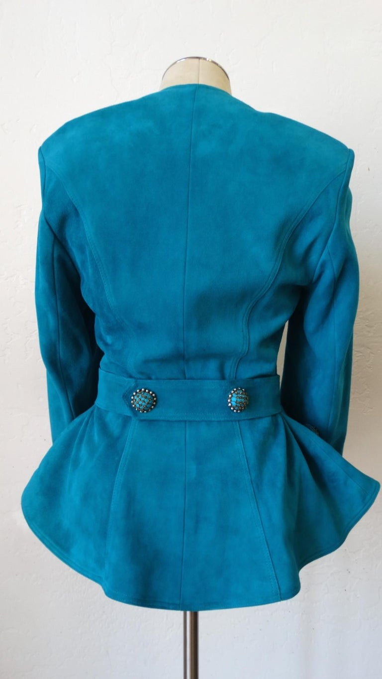 Jean Claude Jitrois 1980s Embellished Teal Leather Blazer For Sale 1