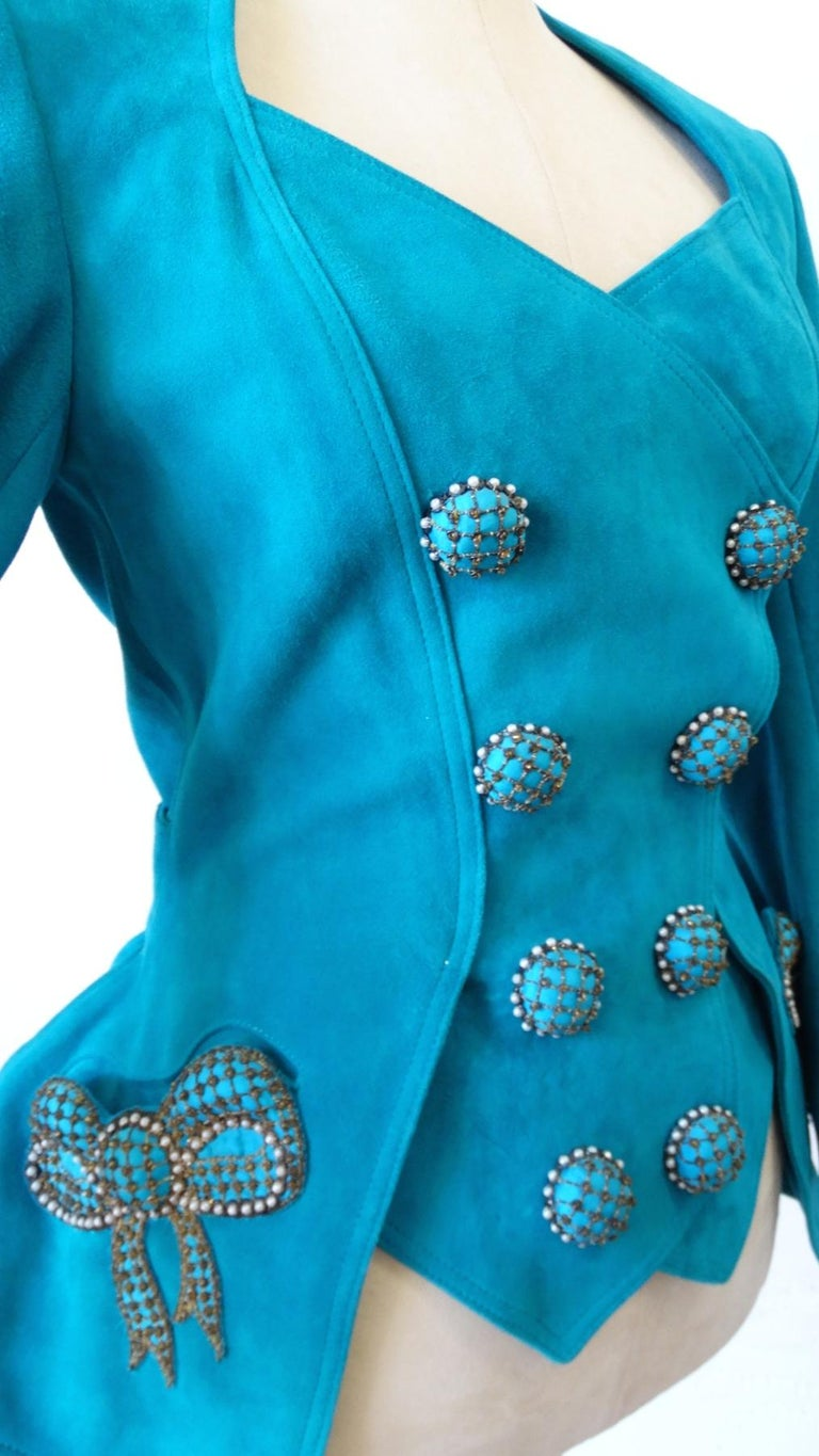 Jean Claude Jitrois 1980s Embellished Teal Leather Blazer For Sale 2