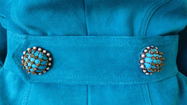 Jean Claude Jitrois 1980s Embellished Teal Leather Blazer For Sale 3