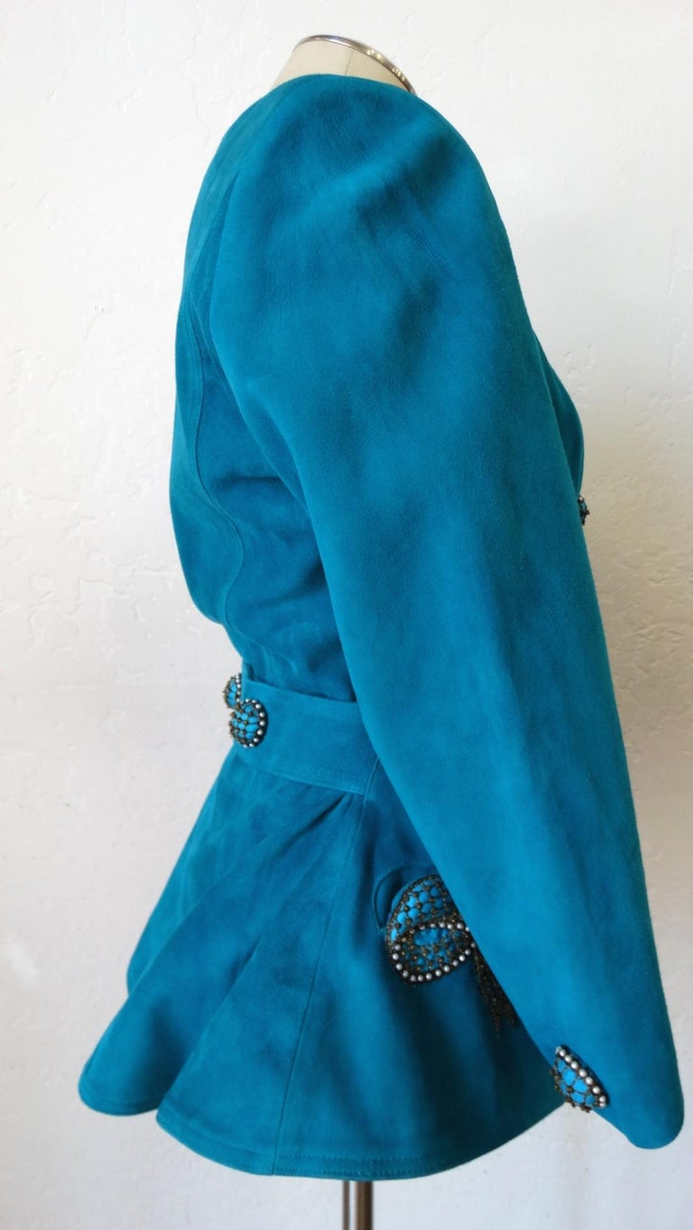 Jean Claude Jitrois 1980s Embellished Teal Leather Blazer For Sale 4