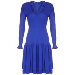 1980s Jean Muir Royal Blue Jersey Dress With Ruffle Trim