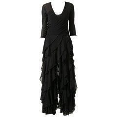 1980s Jean Paul Gaultier Black Flounces Suit