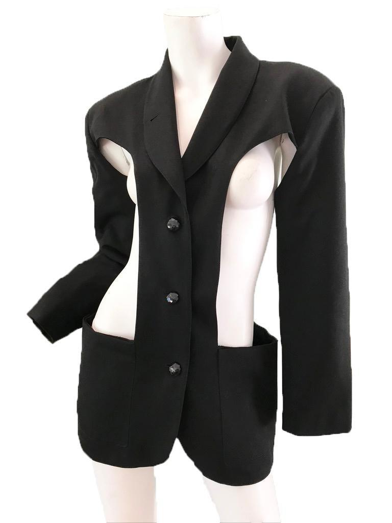 Black 1980s Jean Paul Gaultier cut out blazer For Sale