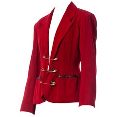 1980S JEAN PAUL GAULTIER Red Wool Very Rare Jacket With Leather And Oversized S