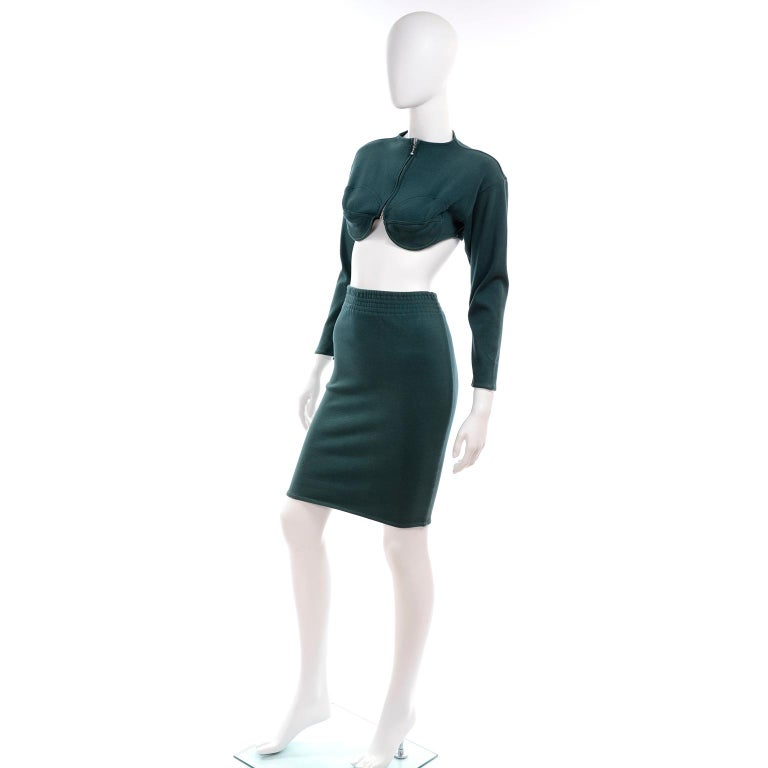 1980s Jean Paul Gaultier Vintage Cone Bust Cropped Top & Skirt 2 pc Green Dress In Good Condition For Sale In Portland, OR